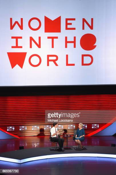 P rime Minister of Canada Justin Trudeau and Journalist Tina Brown speak during the Eighth Annual Women In The World Summit at Lincoln Center for the...