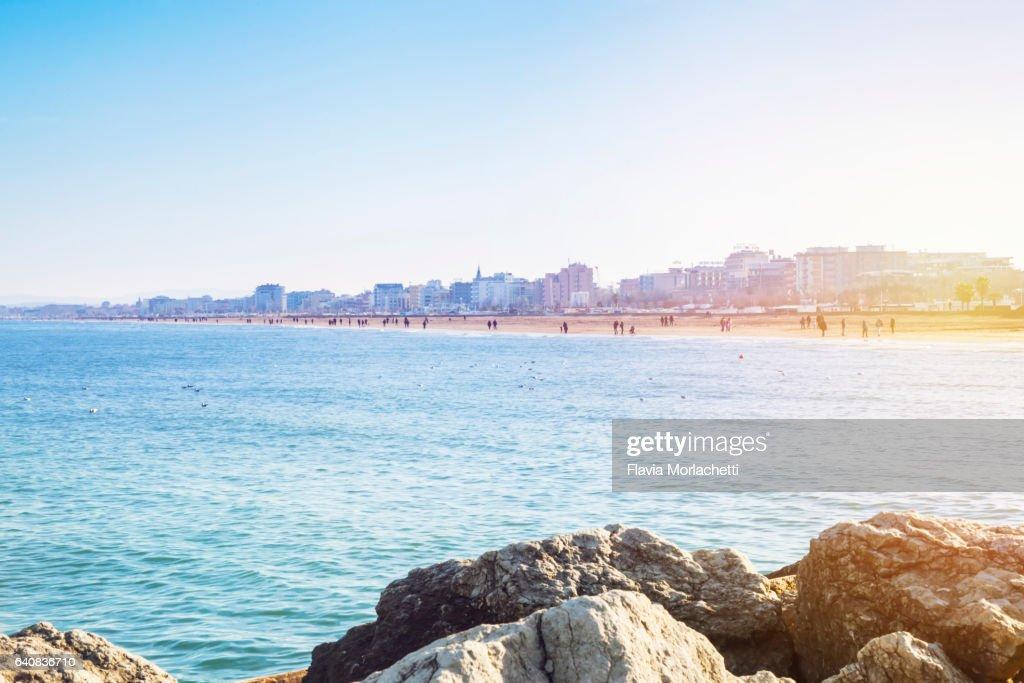 Rimini beach, Italy : Stock Photo