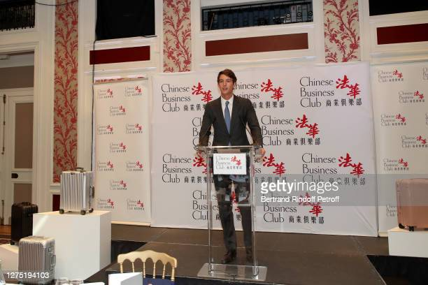 Rimowa CEO, Alexandre Arnault presents the Lunch in his Honor at Chinese Business Club at Westin Vendome on September 22, 2020 in Paris, France.