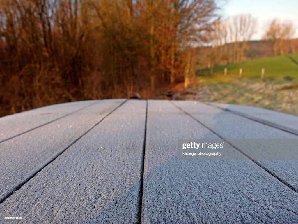 Rimy planks : Stock Photo