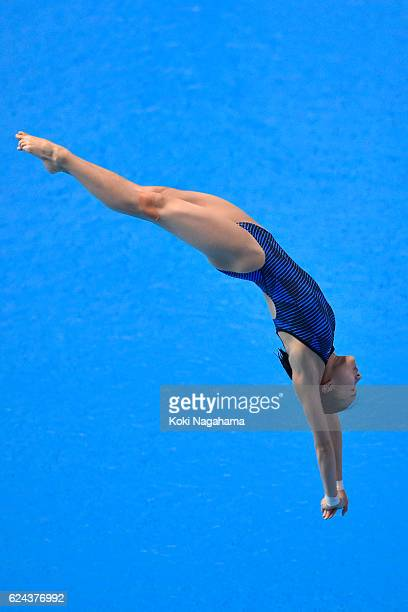 Rin Kaneto of Japan competes in the Women's diving 3m Spring Board Final during the 10th Asian Swimming Championships 2016 at the Tokyo Tatsumi...