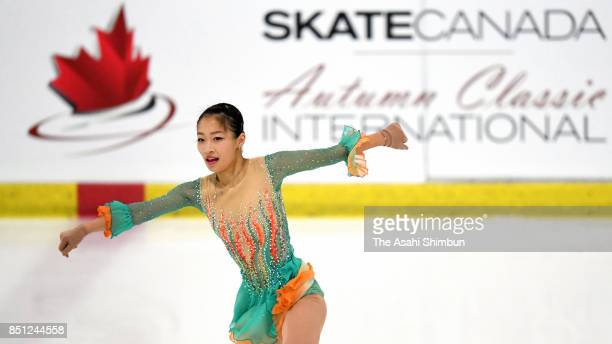 Rin Nitaya of Japan competes in the Ladies Singles Short Program during day one of the Autumn Classic International at Sportplexe Pierrefonds on...