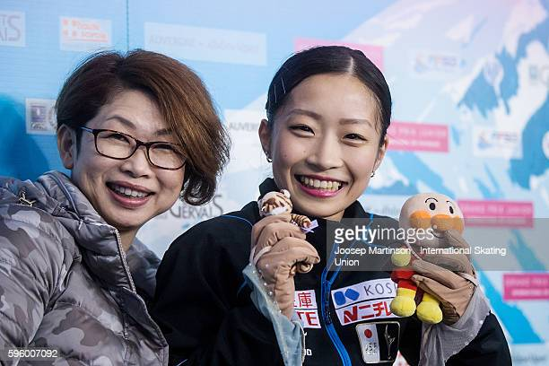 Rin Nitaya of Japan poses for a photo with her coach after the junior ladies free skating on day two of the ISU Junior Grand Prix of Figure Skating...