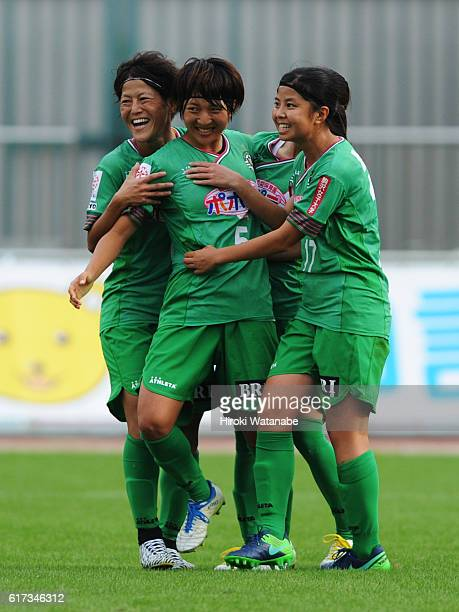 Rin Sumida of NTV Beleza celebrates scoring she team`s second goal during the Nadeshiko League match between Urawa Red Diamonds Ladies and NTV Beleza...