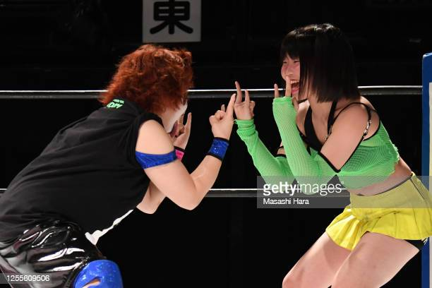 Rina and Deathyama San look on during the Women's Pro-Wrestling 'Stardom' at the Shinkiba 1st Ring on July 11, 2020 in Tokyo, Japan.