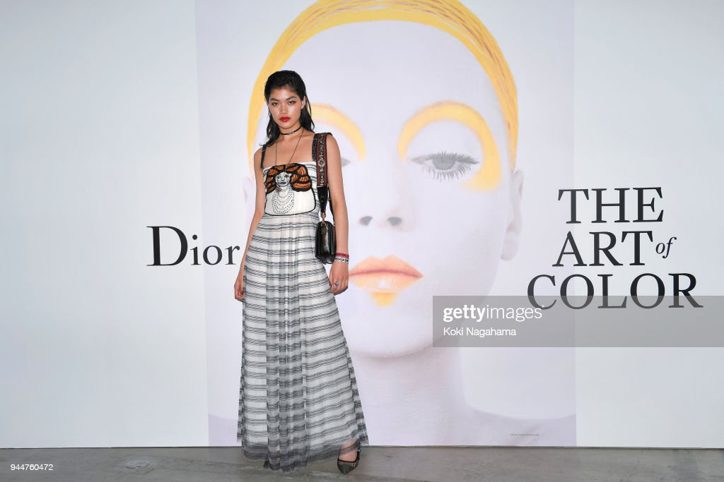 Rina Fukushi attends Dior's The Art of Color Press Preview on April 11, 2018 in Tokyo, Japan.