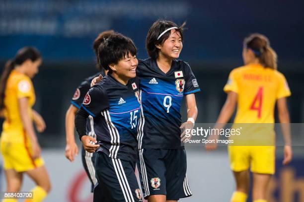 "Rina Mehara of Japan celebrating her score with Hinata Miyazawa during their AFC U-19 Women""u2019s Championship 2017 Semi-Finals match between Japan..."