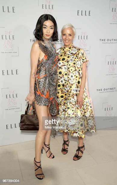 Rina Sawayama and AnneMarie Curtis attend The ELLE List 2018 at Spring at Somerset House on June 4 2018 in London England