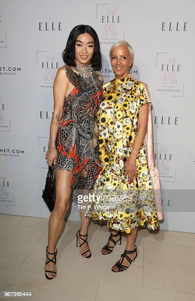 Rina Sawayama and EditorinCheif of Elle AnneMarie Curtis attend The ELLE List 2018 at Somerset House on June 4 2018 in London England