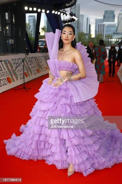 Rina Sawayama arrives at The BRIT Awards 2021 at The O2 Arena on May 11, 2021 in London, England.