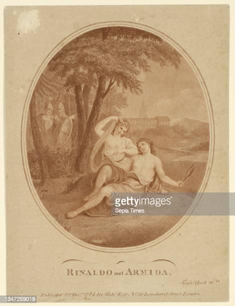 Rinaldo and Armida, Angelica Kauffmann, , Francesco Bartolozzi, Italian, active England, 1727–1815, Stipple engraving in sanguine ink on paper,...