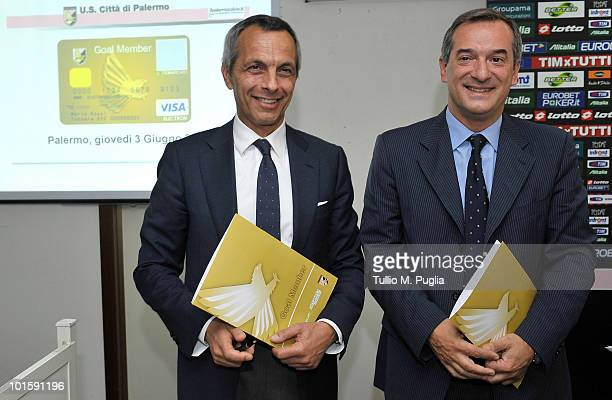 Rinaldo Sagramola Managing Director of Palermo and Amedeo Bardelli Sales Manager of the Ticketing Service for Lottomatica pose during the official...