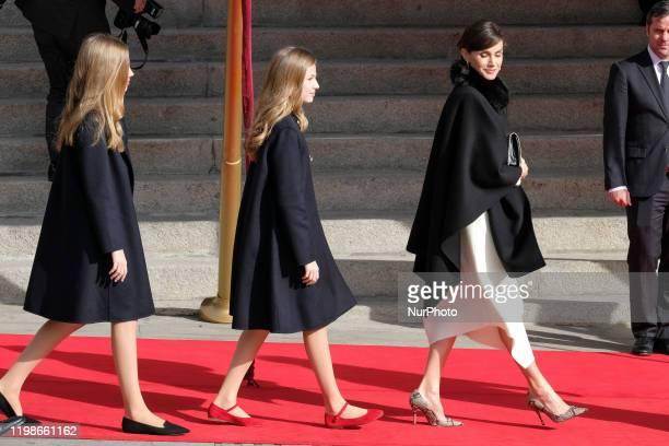 Rincess Leonor of Spain, Queen Letizia of Spain, and Princess Leonor of Spain attend the solemn opening of the 14th legislature at the Spanish...