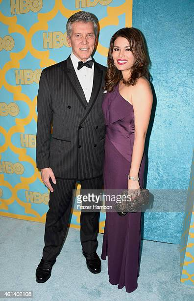 Ring announcer Michael Buffer and Christine Buffer attend HBO's Post 2015 Golden Globe Awards Party at Circa 55 Restaurant on January 11 2015 in Los...