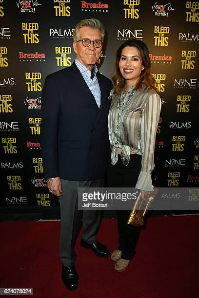 Ring announcer Michael Buffer and Christine Prado attend the Las Vegas screening of the film Bleed for This at the Brenden Theatres inside Palms...