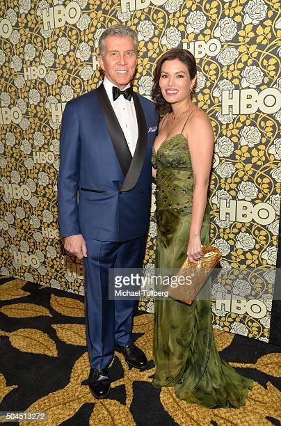 Ring announcer Michael Buffer and wife Christine Buffer attend HBO's post 2016 Golden Globe Awards party at Circa 55 Restaurant on January 10 2016 in...