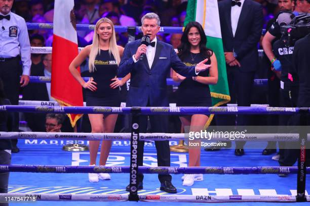 Ring Announcer Michael Buffer introduces the fighters prior to the World Heavyweight Championship fight on June 1 2019 at Madison Square Garden in...