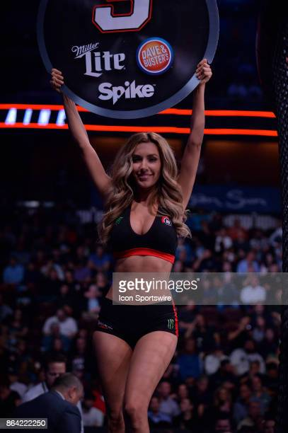 Ring Card girl Mercedes Terrell in between rounds as Ana Julaton takes on Lisa Blaine in a Flyweight bout on October 20 2017 at Bellator 185 at the...