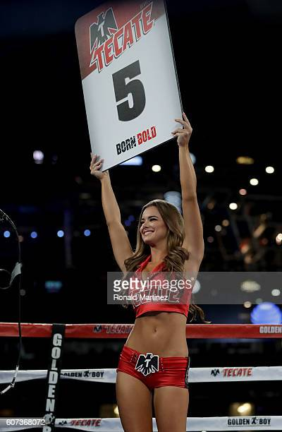 Ring Girl displays a Round 5 sign during the Joseph Diaz Jr vs Andrew Cancio NABF Featherweight fight at ATT Stadium on September 17 2016 in...