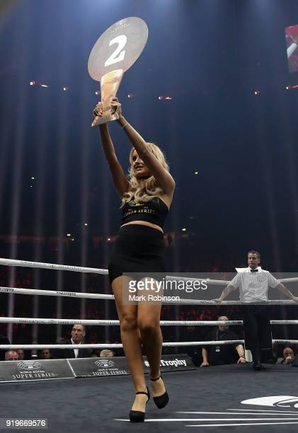 A ring girl parades the ring during the World Boxing Super Series at the Manchester Arena on February 17 2018 in Manchester England