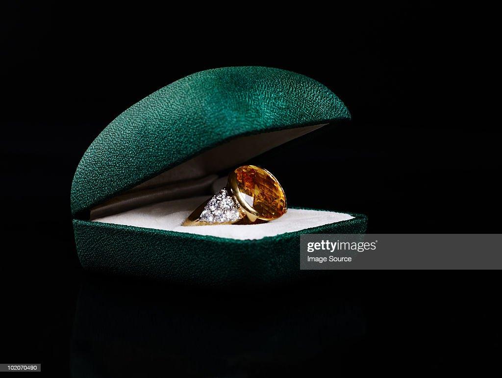 Ring in jewelry box : Stock Photo