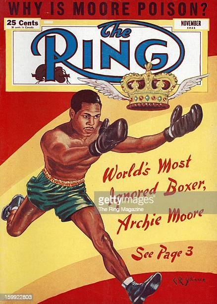 Ring Magazine Cover Illustration of Archie Moore on the cover