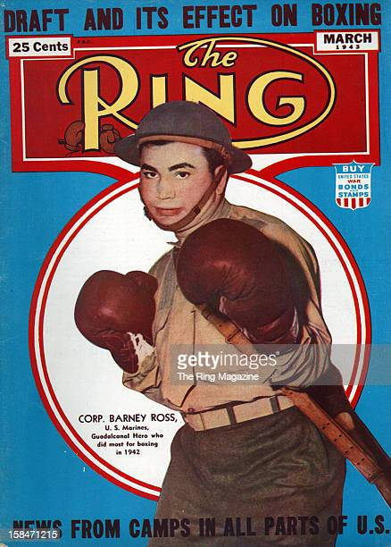Ring Magazine Cover Illustration of Barney Ross on the cover