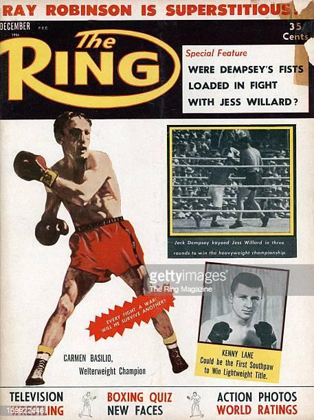 Ring Magazine Cover Illustration of Carmen Basilio Kenny Lane Jack Dempsey and Jess Willard on the cover