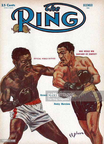 Ring Magazine Cover Illustration of Ezzard Charles and Rocky Marciano on the cover