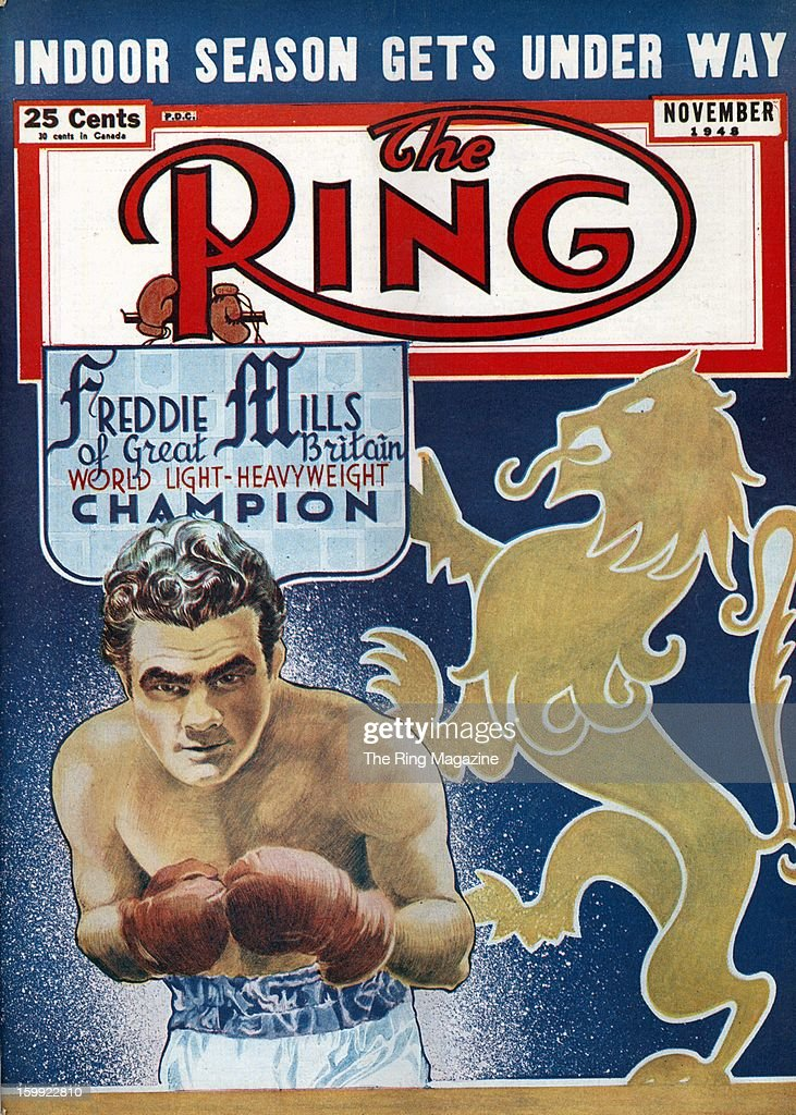 Ring Magazine Cover - Illustration of Freddie Mills on the cover.