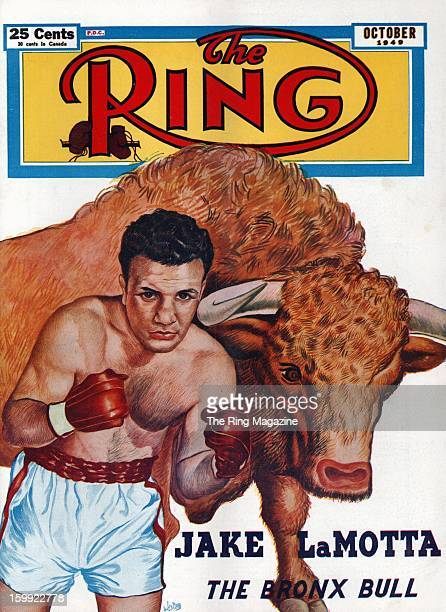 Ring Magazine Cover Illustration of Jake LaMotta on the cover