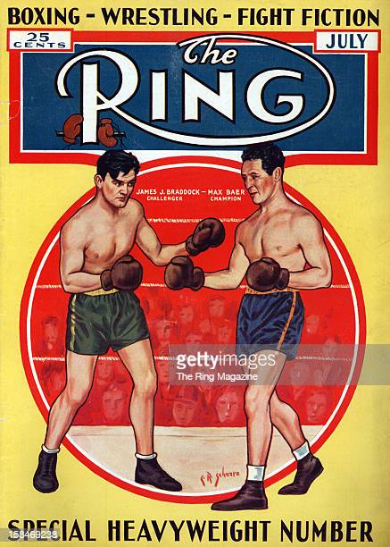Ring Magazine Cover Illustration of James J Braddock and Max Baer fight on the cover