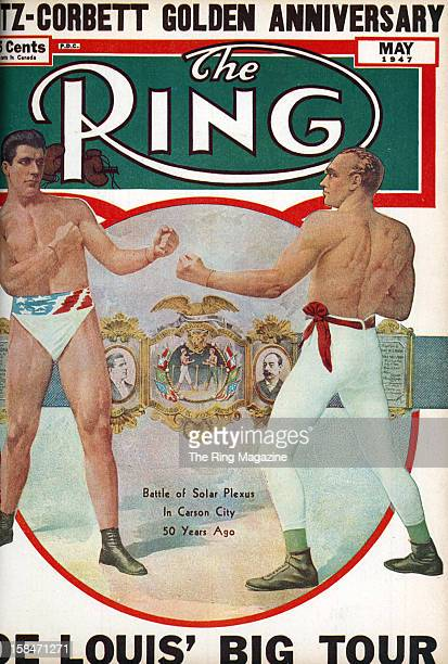 Ring Magazine Cover Illustration of James J Corbett and Bob Fitzsimmons on the cover