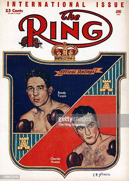 Ring Magazine Cover Illustration of Randy Turpin and Charles Humez on the cover