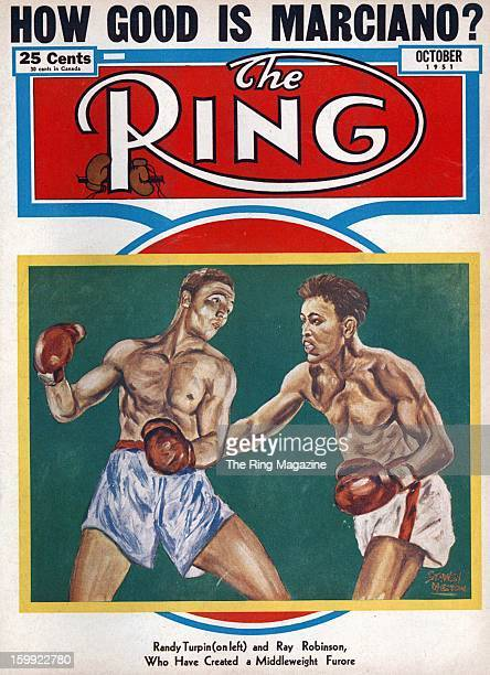 Ring Magazine Cover Illustration of Randy Turpin and Ray Robinson on the cover