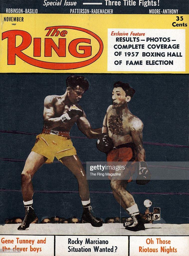Ring Magazine Cover -  Ray Robinson and Carmen Basilio : News Photo