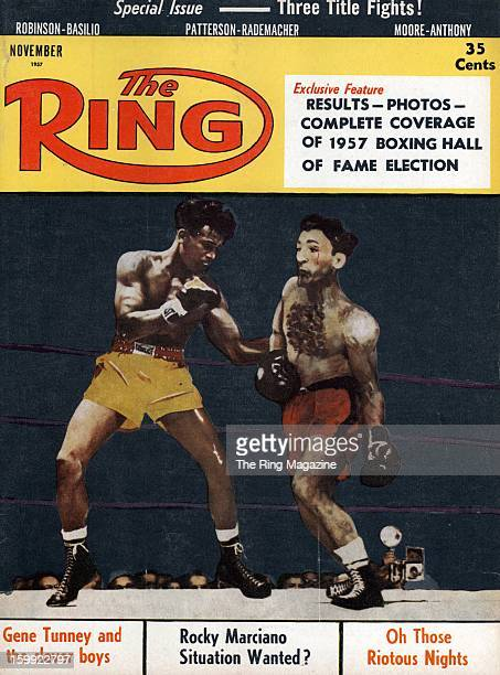 Ring Magazine Cover Illustration of Ray Robinson and Carmen Basilio on the cover