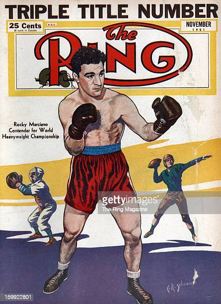 Ring Magazine Cover Illustration of Rocky Marciano on the cover