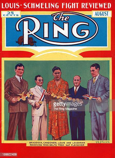 Ring Magazine Cover James Braddock Tony Canzoneri Joe Louis Nat Fleischer and Tommy Loughran on the cover