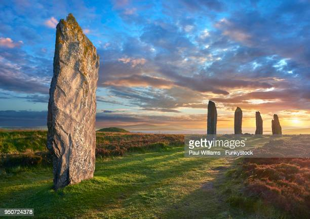 ring of brodgar, neolithic henge and stone circle, orkney, scotland, united kingdom - stone age stock photos and pictures