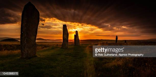 ring of brodgar sunset - stone age stock photos and pictures