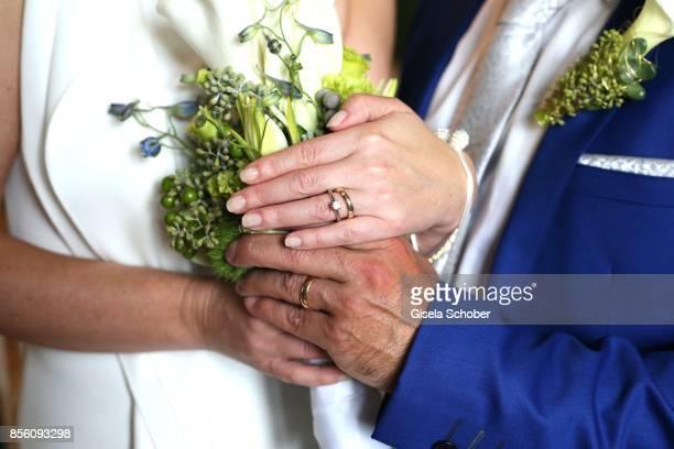 Ring of Erdogan Atalay and Katja Ohneck during their civil wedding on September 28 2017 in Heidelberg Germany