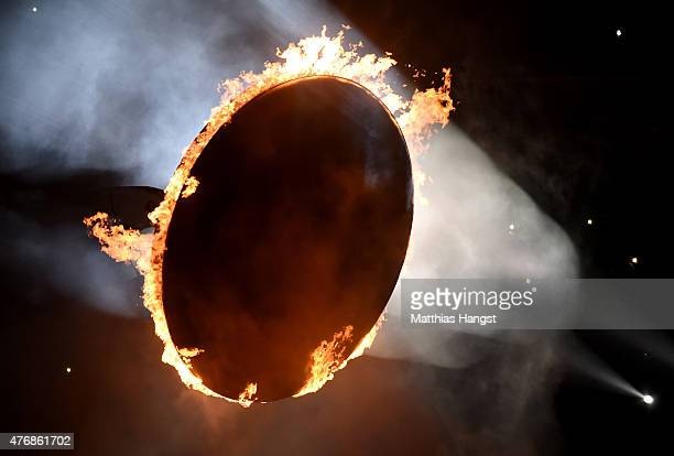 A ring of fire representing a total solar eclipse burns during the Opening Ceremony for the Baku 2015 European Games at the Olympic Stadium on June...