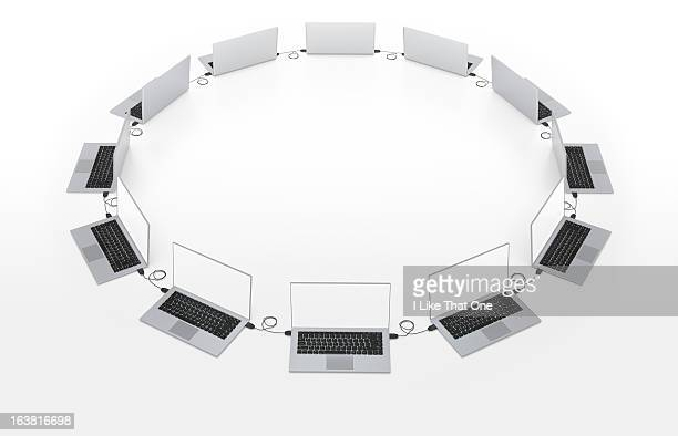 Ring of network of connected laptop computers