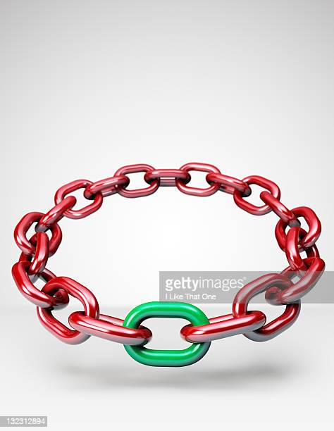 Ring of red chain with one link painted green