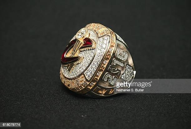 Ring of the 2016 NBA Champions Cleveland Cavaliers prior to the game against the New York Knicks on October 25 2016 at at Quicken Loans Arena in...