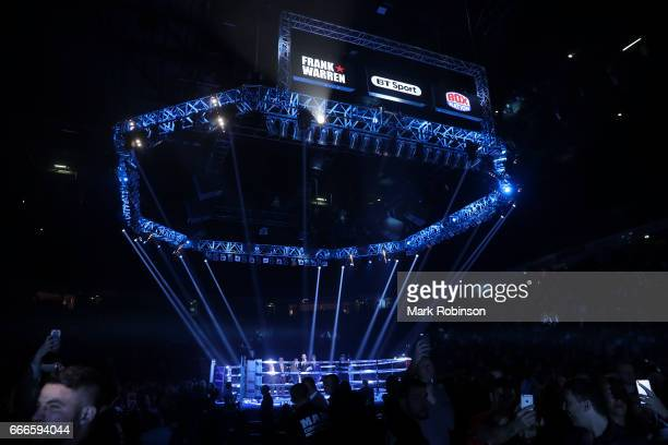 Ring Set Up for the Terry Flanagan and Petr Petrov bout at Manchester Arena on April 8 2017 in Manchester England