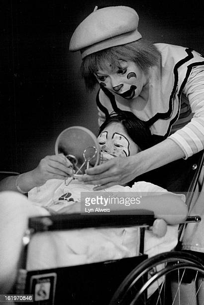 Ringling Bros. And Barnum and Bailey Circus Clown Ruth Chaddock visited Children's Hospital. She put clown's make-up on patient Chantelle Miller, age...