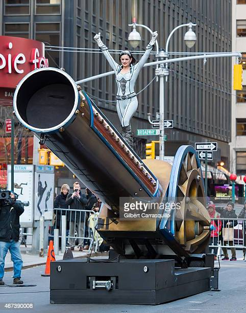 Ringling Bros and Barnum Bailey Circus human cannonball Gemma 'The Jet' Kirby is performing her cannonball act during the taping of The Late Show...