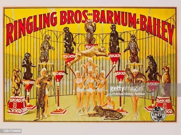 Ringling Bros and Barnum Bailey Circus Poster Lithograph 1945